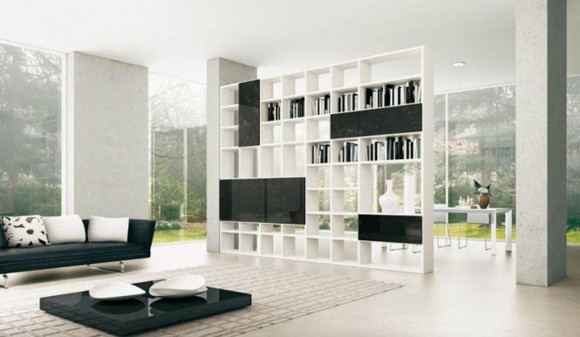 black and white home shelving