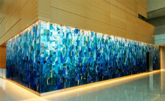 blue color tone glass work