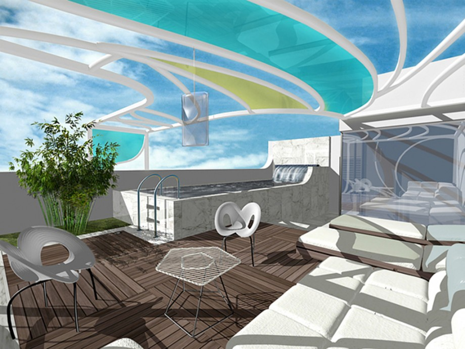 comfortable rooftop terrace space