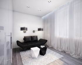 conceptual black and white living room