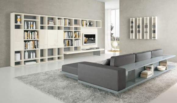 contemporary home wall shelving concept