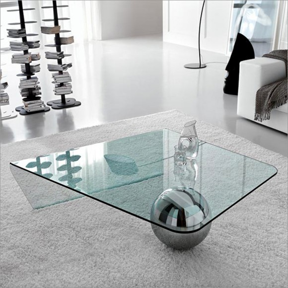 minimalist glass coffee table