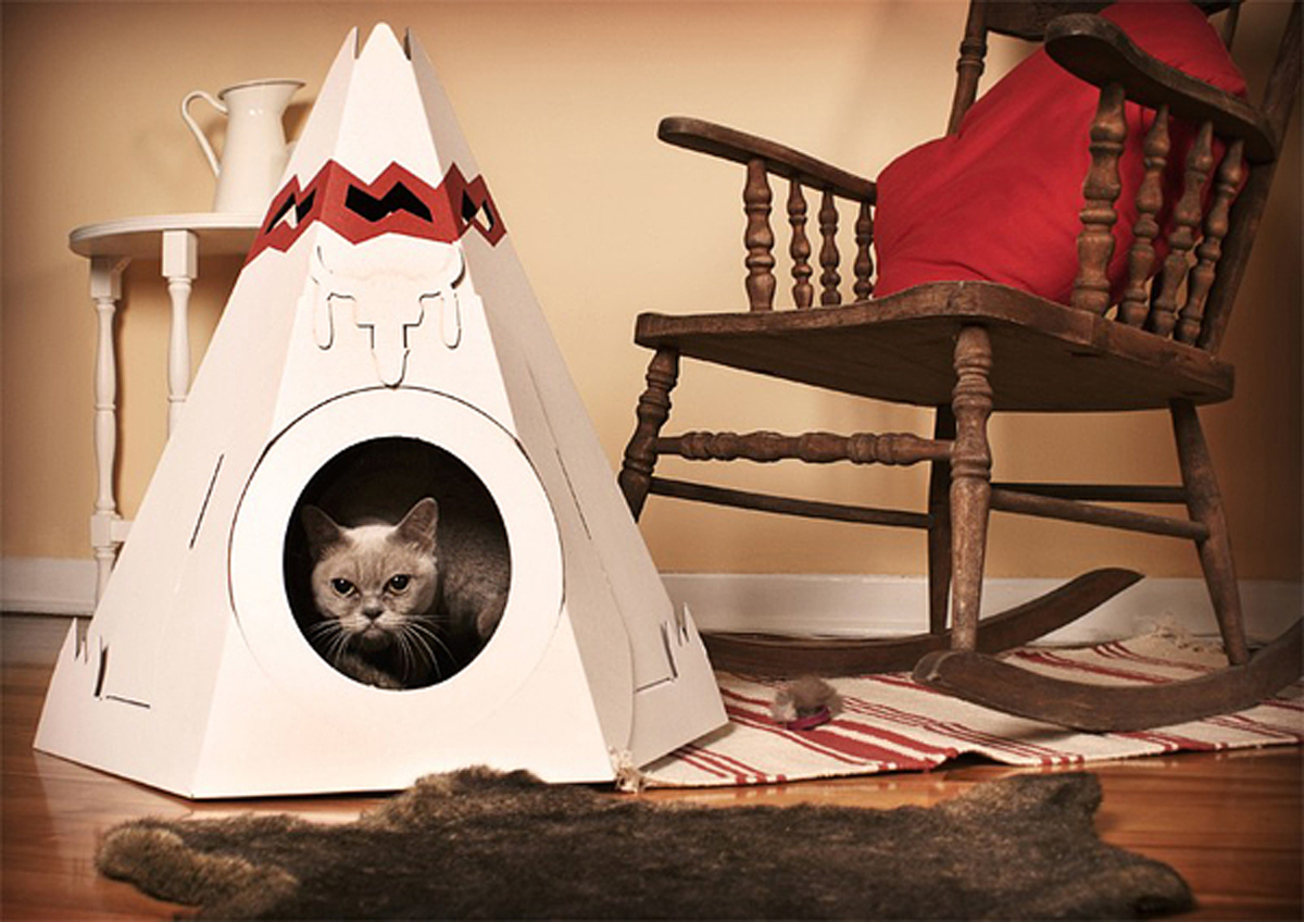 Space Saving Cardboard Pet Home Designs With Nice View