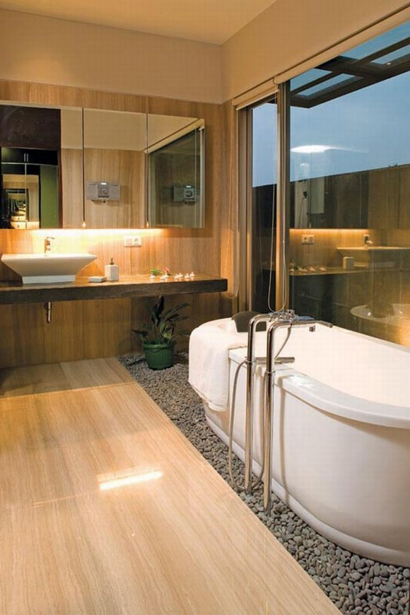 wooden interior bathroom areas