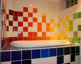 colorful bathroom tiles furnishing