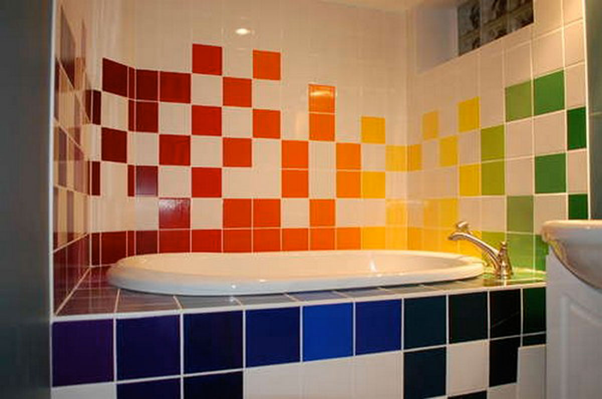 Colorful bathroom tiles furnishing - Azulejos 20x20 colores ...