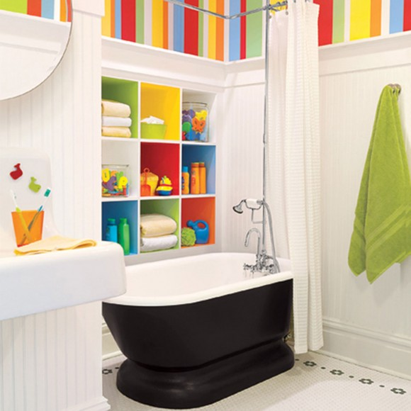 colorful kids bathroom space