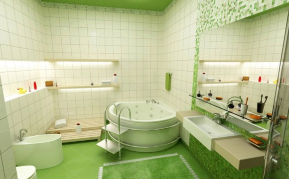 green and clean bathroom interior