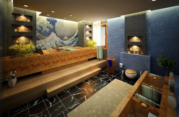 oceanic blue bathroom interior