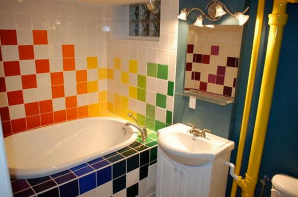 stimulating colorful bathroom tiles