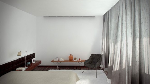 white home interior landscape