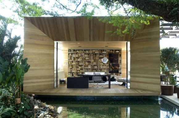 wooden outdoor library landscaping