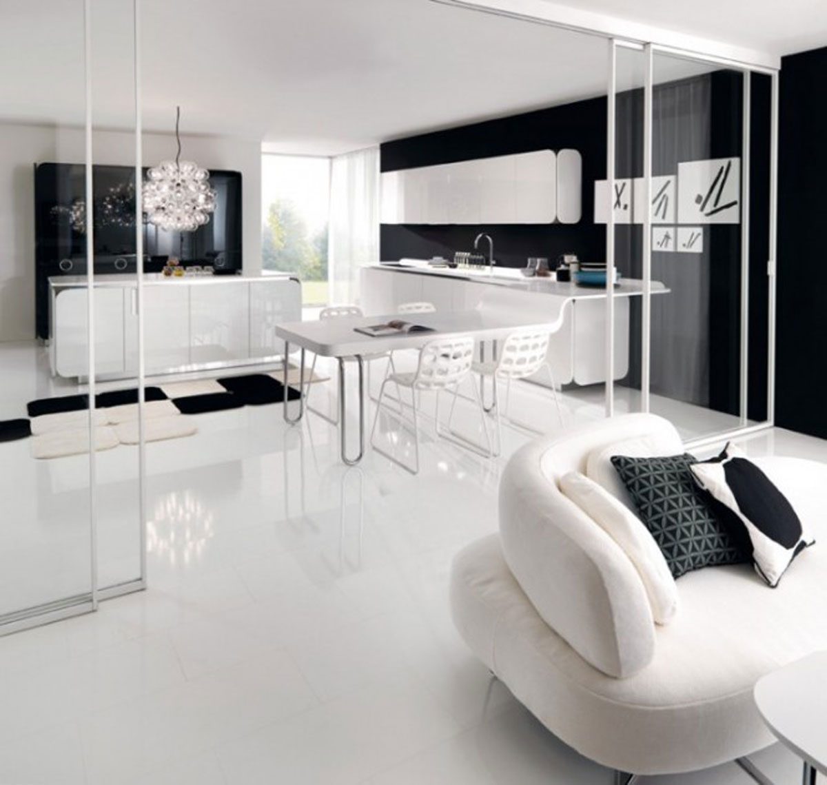 Black and white kitchen designs for Kitchen designs black and white