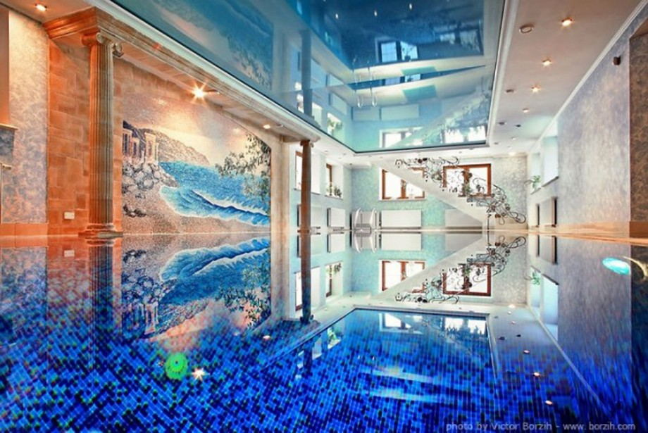 calm blue indoor pool interior