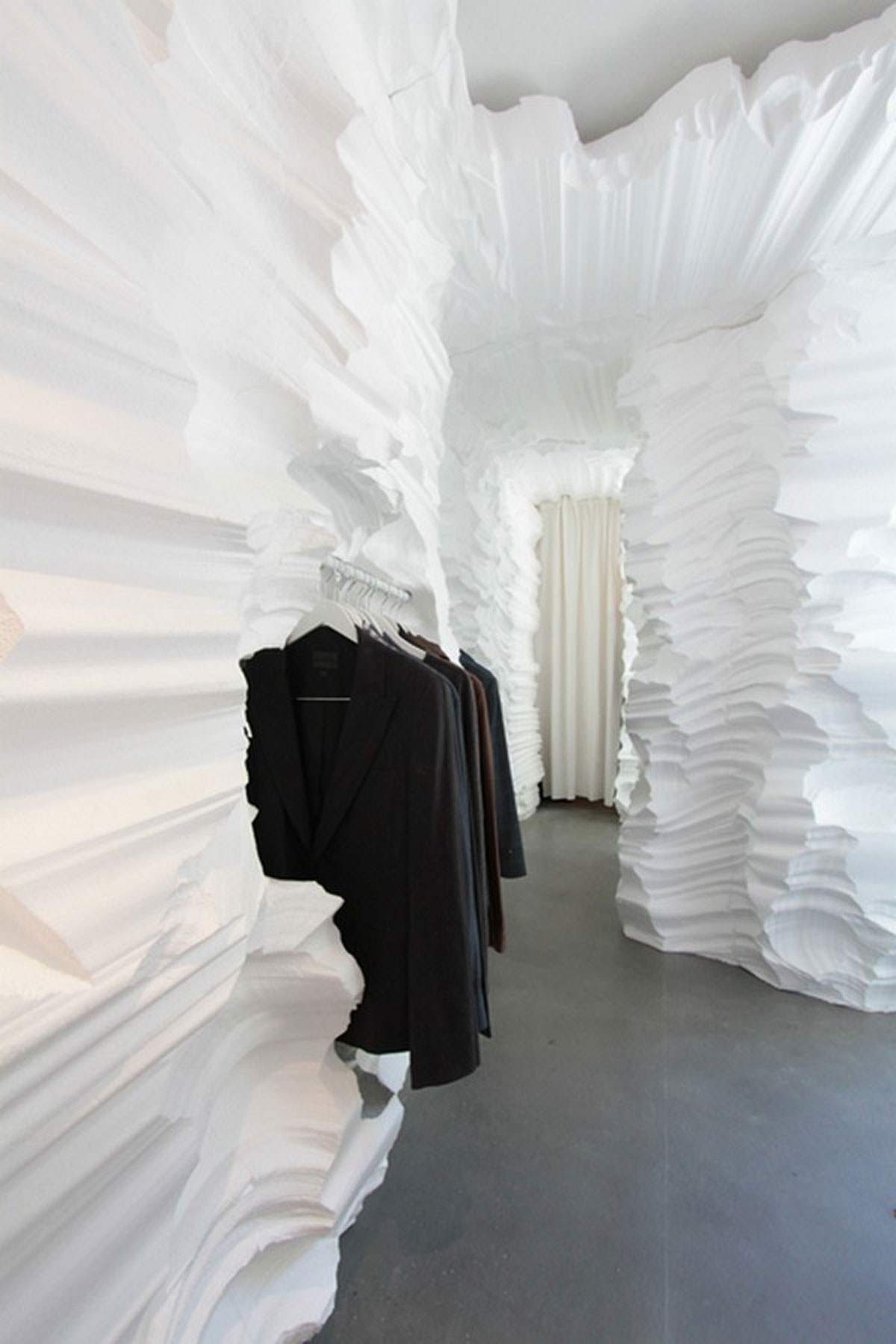 Modern Glacial Cavern Fashion Shop Designs by Snarkitecture - Iroonie.