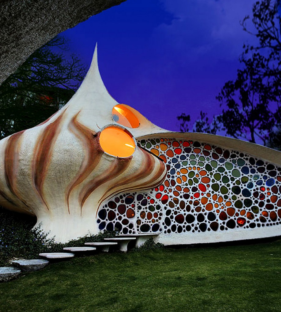 colorful shell house exterior