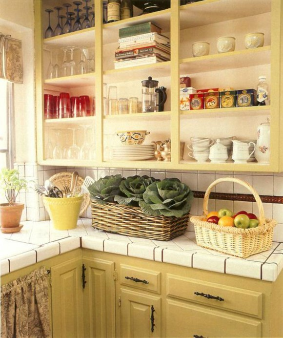 vintage creamy kitchen interior