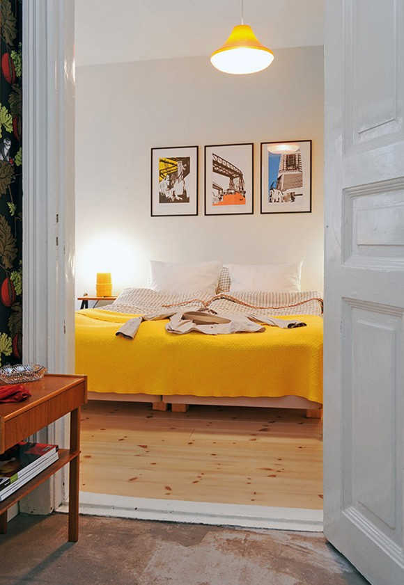 cute yellow bedroom space