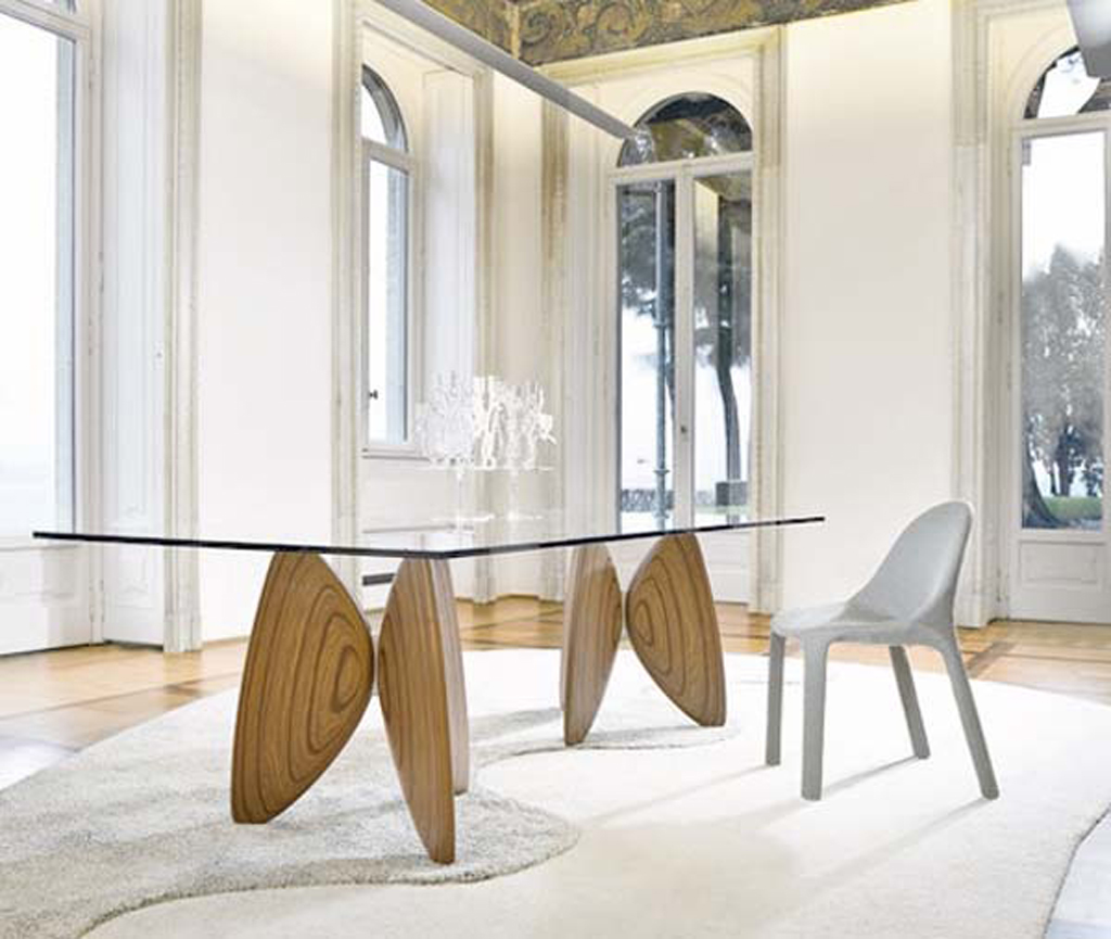 Glass wood dining table combination for Table moderne design