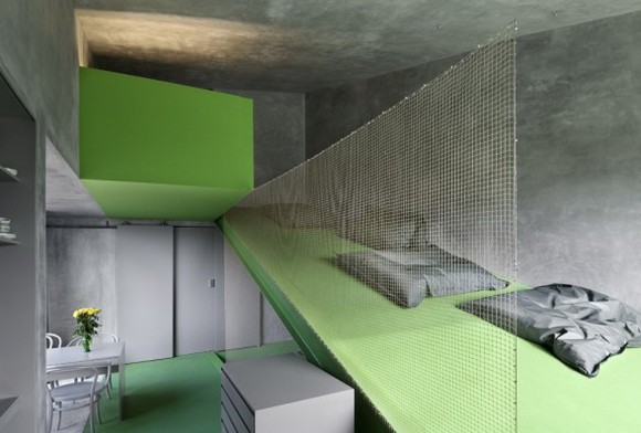 green and grey pink house interior