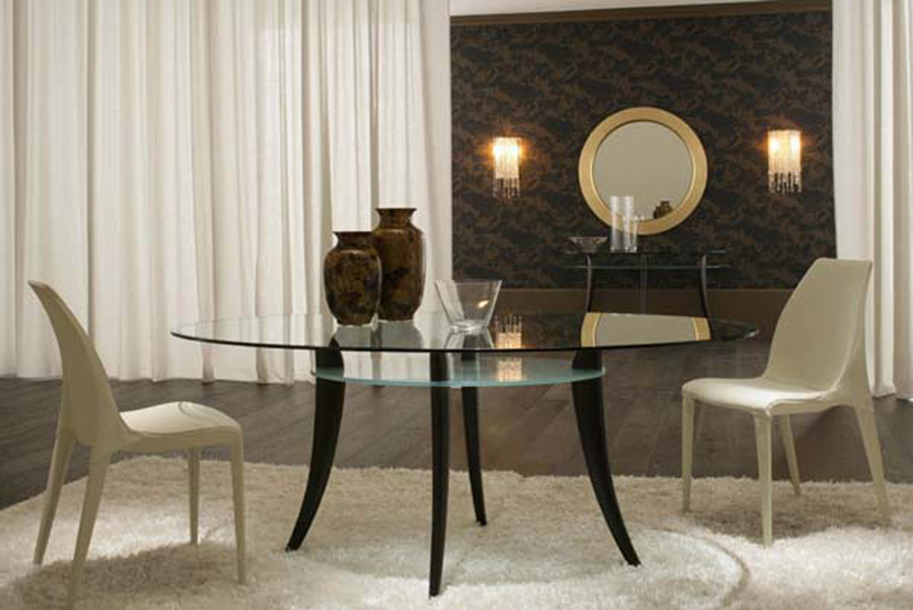 Modern glass dining table designs for Glass dining table designs