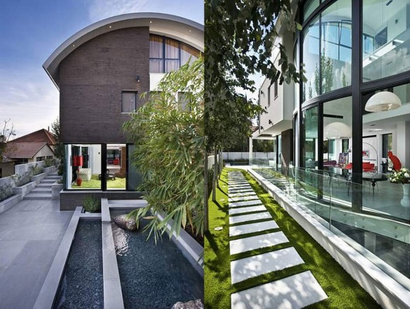 modern private house landscaping