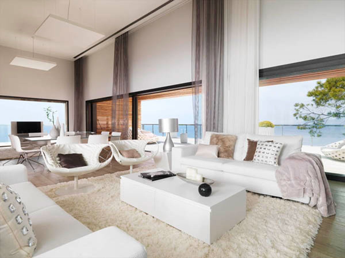 Modern white dream house living room for Photos of modern living rooms