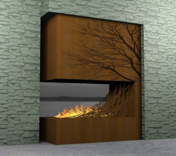 nice contemporary wooden fireplace