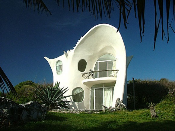 small white shell house