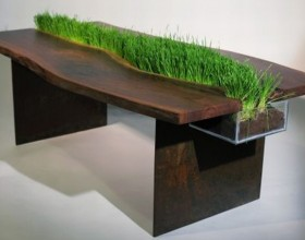 wooden table with planter integration