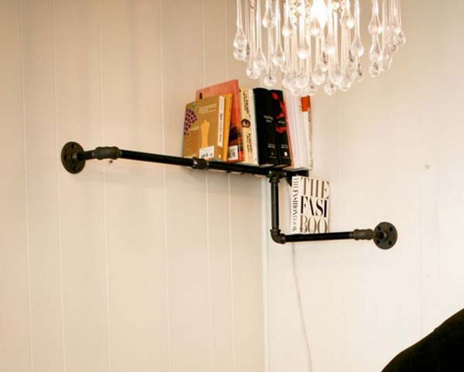 unique pipe shelves design