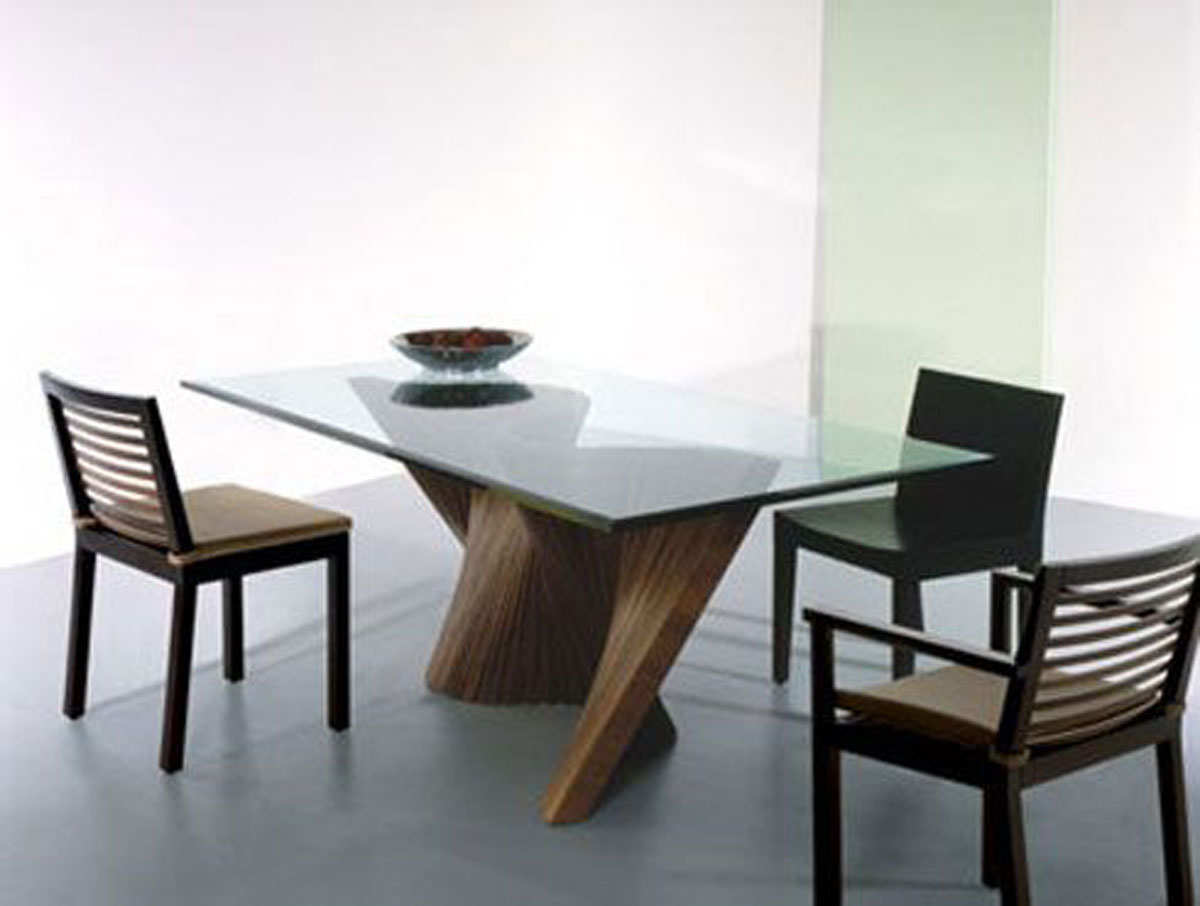 Contemporary glass dining room table design for Furniture table design examples