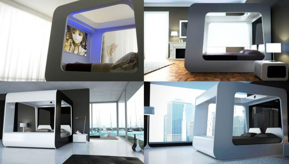 futuristic TV bedroom design