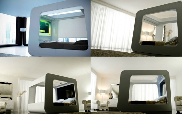 minimalist high-tech TV bed