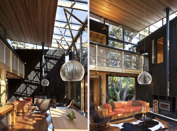 nice wooden interior forest beach house