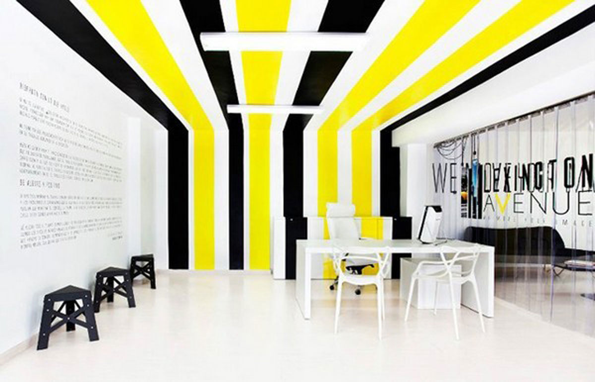 Colorful office interior planner for Interior design retail agency